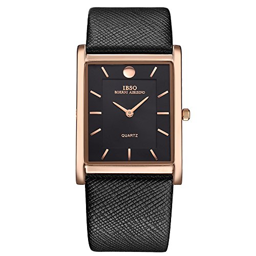 (IBSO Men Watches 7MM Ultra-thin Rectangle Dial Watch Classic Quartz Wristwatch (Black gold))