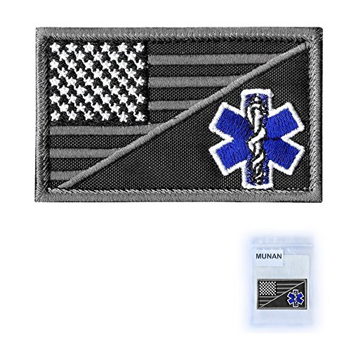 MUNAN ACU EMS EMT Star of Life USA Flag Subdued Paramedic Medical Morale Tactical Army Gear Fastener Patch