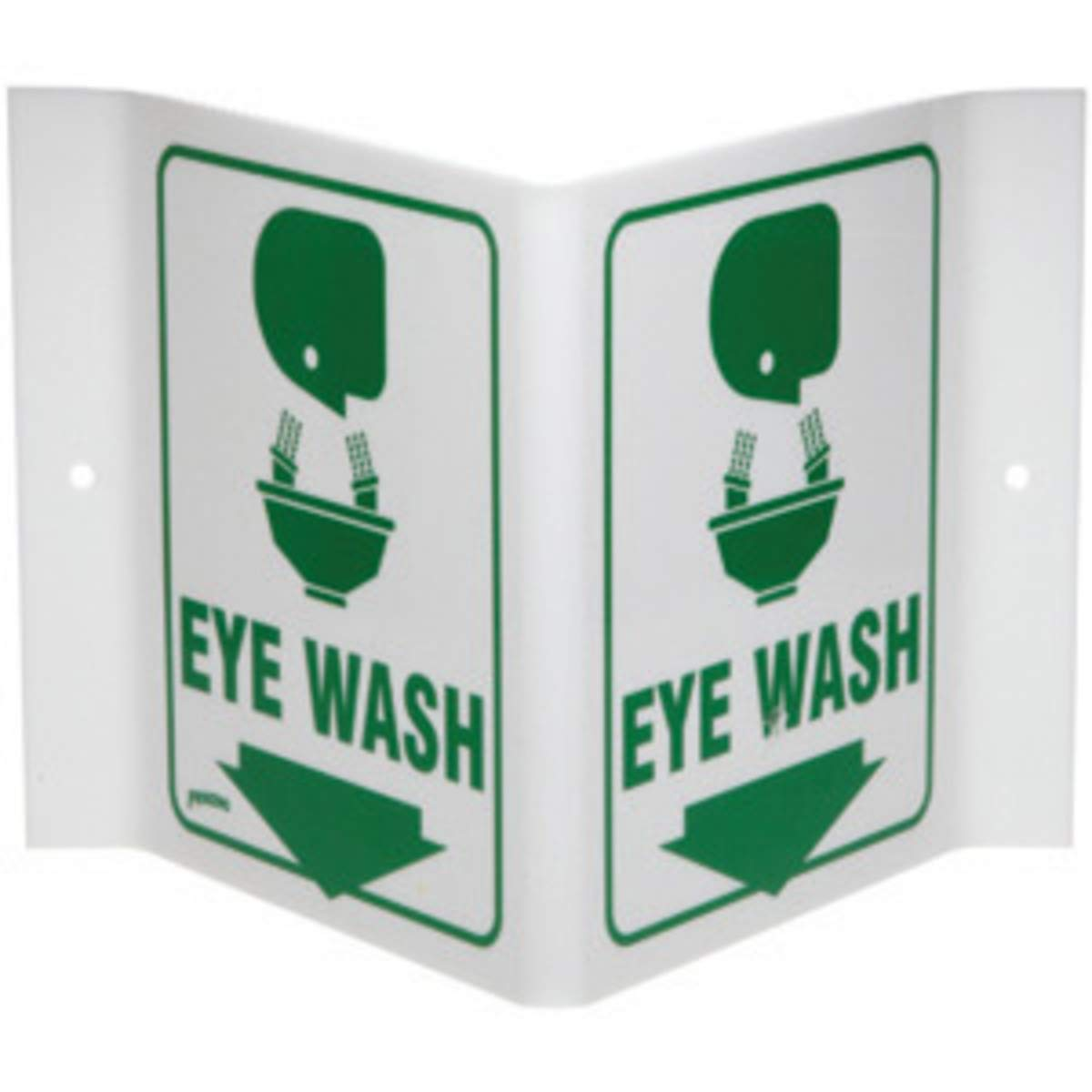 Brady 12'' X 18'' X .055'' Green On White .0551'' B-450 Polyethylene Office And Facility Sign''EYE WASH'' by Brady USA