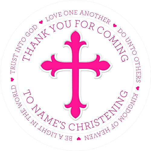 Baptism Pink Ribbon Sticker Labels Personalised Custom Seals Ideal for Party Bags Sweet Cones Favours Jars Presentations Gift Boxes Bottles Crafts