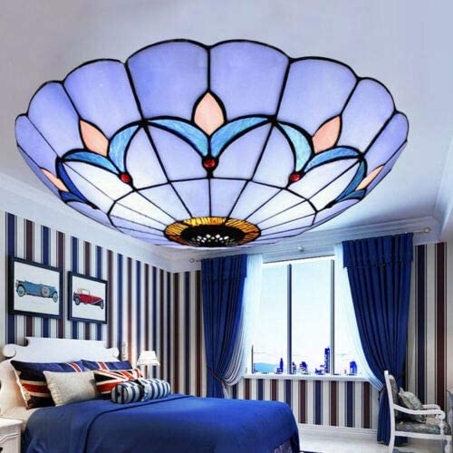 Chandelier Lamp,Flush Mounted Tiffany Style Ceiling Lamp Stained Glass Chandelier Hanging Lamp LED for Bedroom Living Room Restaurant Hotel US