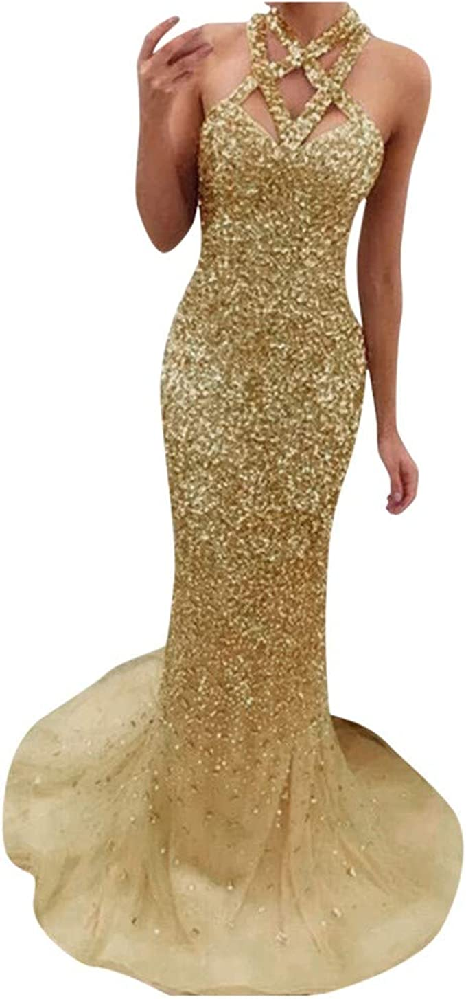 Schöne Off Should Paillettekleid Damen Glitzerkleider Ärmellos