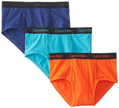 Calvin Klein Big Boys' Assorted 3 Pack Briefs, Blue/Orange/Yellow, Medium/8-10