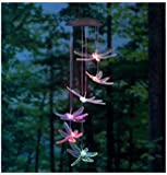 KAZOKU Color-Changing LED Solar Dragonfly Mobile