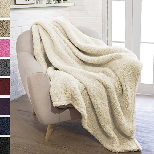 PAVILIA Plush Sherpa Throw Blanket for Couch Sofa | Fluffy Microfiber Fleece Throw | Soft, Fuzzy, Cozy, Lightweight | Solid Latte Cream Blanket | 50 x 60 (Sherpa Throw)
