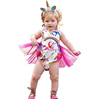 JoyJon Baby Girls Romper Unicorn Rainbow Print Ruffle Princess Bikini Summer Clothes with Unicorn Rose Headband Jumpsuit Outfits Shower Gift for Girls(90cm)