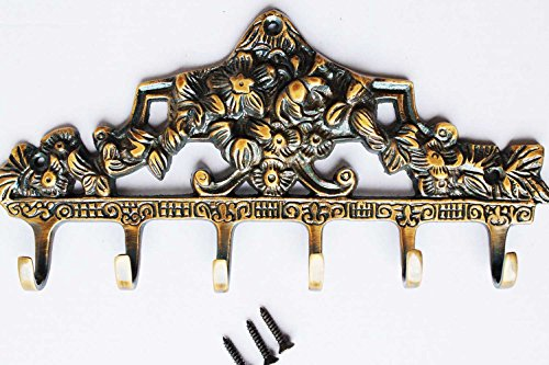Art of Décor French SOLID BRASS Victorian 6 Hook Wall Key Tie Key Holder Hanger Hook 8