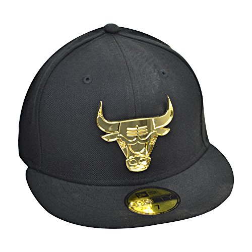 (New Era Chicago Bulls 59Fifty NBA Men's Fitted Hat Cap Black/Gold 70360964 (Size 8))