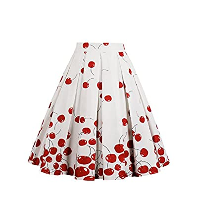 MisShow Women Pleated Vintage Skirt Floral Print Flared A Line Skater Skirts