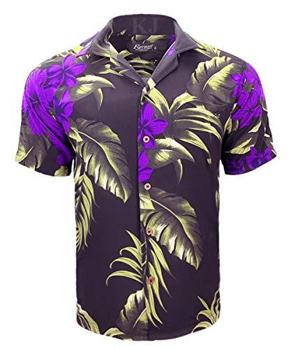 (Tropical Luau Beach Floral Print Men's Hawaiian Aloha Shirt (Large, Black/Purple))