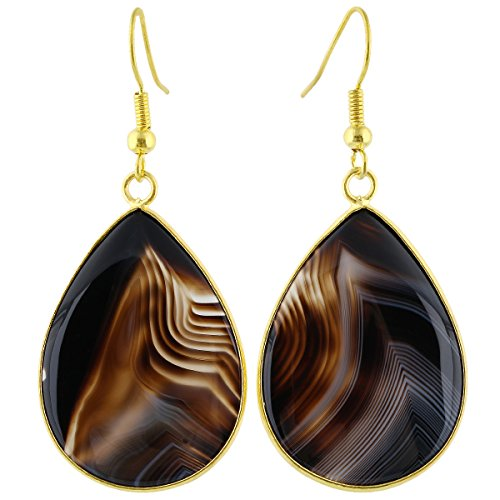 SUNYIK Women's Stripe Agate Teardrop Hook Dangle ()