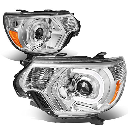 For Toyota Tacoma Pair of Chrome Housing Amber Corner 3D LED DRL Projector Headlight Lamp