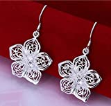 Silver Ladies' Wire Earrings.With Fllower Pendant.Earring droops for Women.