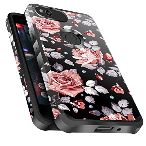 Google Pixel XL Case Shockproof, Miss Arts Slim Anti-Scratch Protective Kit with [Drop Protection] Heavy Duty Dual Layer Hybrid Sturdy Armor Cover Case for Google Pixel XL 2016 -Rose Gold Flower (Original Xl Cover)