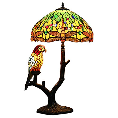 (Makenier Vintage Tiffany Style Stained Glass Green Dragonfly + Red Parrot Table Lamp)