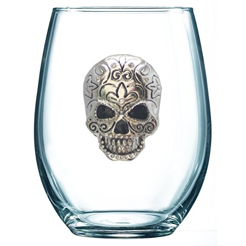 THE QUEENS' JEWELS Skull Jeweled Stemless Wine Glass - Unique Gift for Women, Birthday, Cute, Fun, Not Painted, Decorated, Bling, Bedazzled, Rhinestone (Jewel Box Wine)