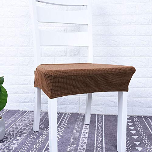 Companion Dining Chair - Mumusuki Chair Cover Elastic Jacquard Waterproof Washable Removable Protective Dining Seat Cushion for Kitchen 4Pcs (Coffee)