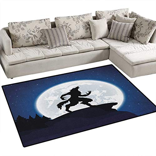 Wolf,Carpet,Full Moon Night Sky Growling Werewolf Mythical Creature in Woods Halloween,Print Area Rug,Dark Blue Black White Size:36