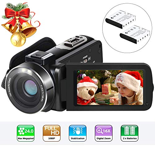 Video Camera Camcorder Digital Vlogging Camera Recorder for YouTube Aabeloy HD 1080P 15FPS 24MP 16X Digital Zoom 3.0 Inch 270 Degree Rotation Screen Camcorder with 2 Batteries