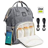 Diaper Backpack Multi-Functional Waterproof Travel Baby Diaper Bag Backpack with USB Charging Port for Baby care Large Capacity Fashion Durable Nappy Bag Gift for Mom&Dad Includes 2 stroller Hooks (DarkGrey) (Grey)