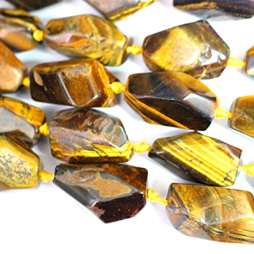 Faceted Natural Color Free Size Nuggets Genuine Tiger's Eye 13*18mm to 20*30mm Real Gemstone Necklace Making Loose Beads - Nugget Eye