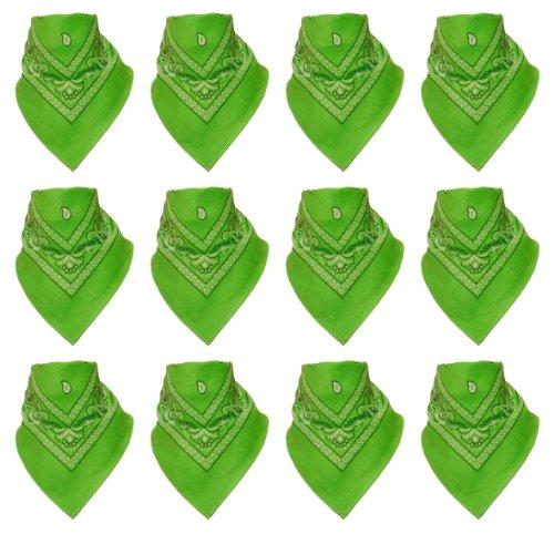 Au Motif 12 Lot Designs Bandanas Flittner Vert De Pomme Avec Original Paisley Couleur Alex Choix x0qPTn