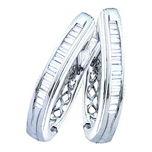 Diamond Hoop Earrings 10k White Gold U Shape Hoops Baguette Style Fashion Polished Fancy 1/3 Cttw ()