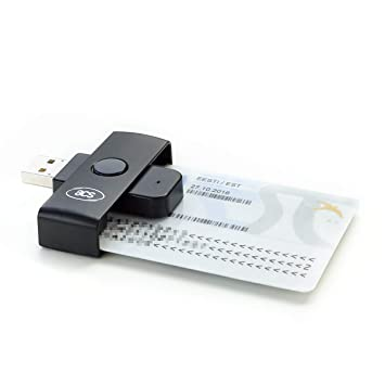 ACS ACR38U-N1 PocketMate - Lector de tarjetas Inteligentes Smart Card ID eID USB tipo A (DNI electrónico) plegable y compacto, color negro