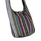BTP! Cotton Sling Bag Purse Cross body Messenger Purse Hippie Hobo Hand Woven Ikat A58