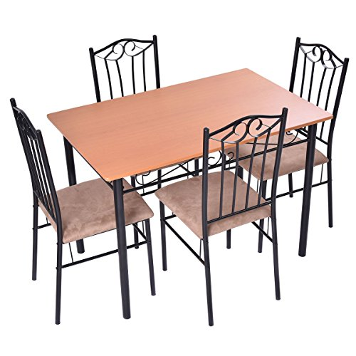 Tangkula 5 PieceWood Top Metal Dining Set Table and 4 Chairs Kitchen Furniture