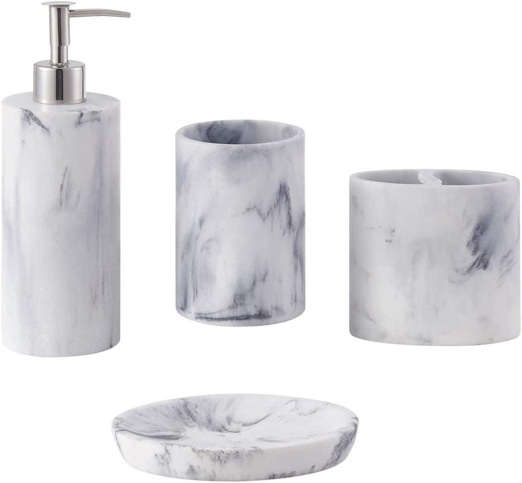zccz Bathroom Accessory Set, 9 Pcs Marble Look Bathroom Vanity Countertop  Accessory Set Bathroom Décor Accessories with Soap Dispenser, Toothbrush