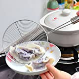 MAZIMARK--Silver Kitchen Colander Scoop Spoon Cooked Food Strainer Pasta Vegetable Drainer