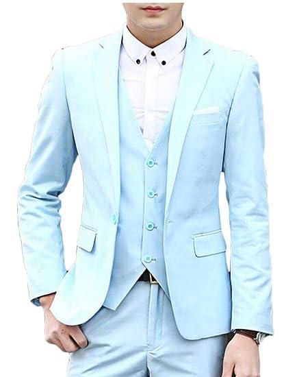 BingSai - Pantalón de Traje - para Hombre Azul Azul Claro XXS ...