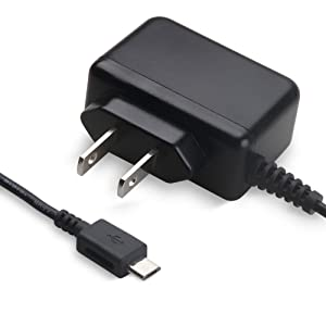 icv Micro Wall Travel Charger 5V 2A Power Adapter with US Plug and Fixed Micro Cable for Samsung Galaxy S6 S5 S4 S3 S2 Si9003,S5820 N7100 Note3 Note4 Black