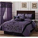 Chezmoi Collection 7-piece Black Violet Flocked Floral Faux Silk Bedding Comforter Set (Queen)