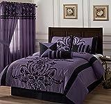 Black and Purple Comforter Sets Queen Chezmoi Collection 7-piece Black Violet Flocked Floral Faux Silk Bedding Comforter Set (Queen)