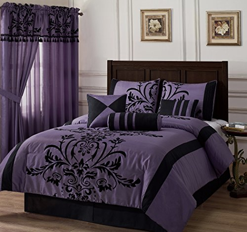 Chezmoi Collection 7 piece Flocked Comforter product image