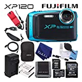 Fujifilm FinePix XP120 Waterproof Digital Camera (Sky Blue) Advanced Accessory Bundle with 64GB Memory Card + Extra Battery + Battery Charger + Floating Wrist Strap + More