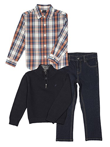 Nautica Baby Boys' Zip Sweater, Long Sleeve Shirt, and Denim Pant Set, Sport Navy, 12 - Sweater Baby Set