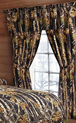 20 Lakes Woodland Hunter Camo Valance, Panels, Tie Backs Curtain Drape Set Five Pieces (Black)