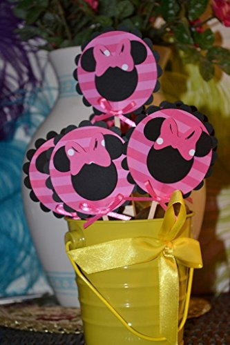 Minnie Mouse Black and Pink CupCake Toppers only (Set of 12)