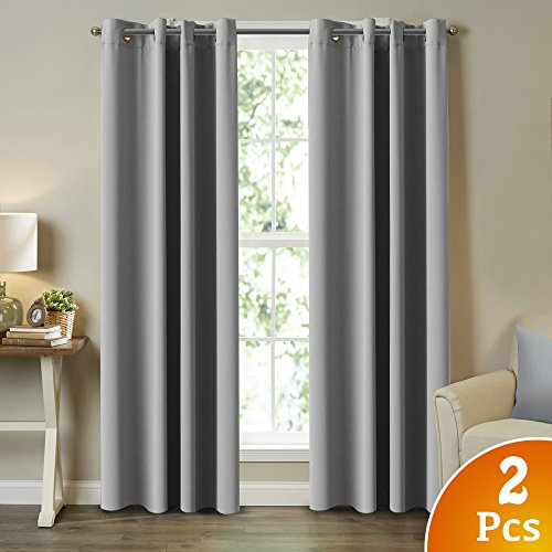 2 Drapes - Turquoize 2 Panels Solid Blackout Drapes, Dove Gray, Themal Insulated, Grommet/Eyelet Top, Nursery/Living Room Curtains Each Panel 52