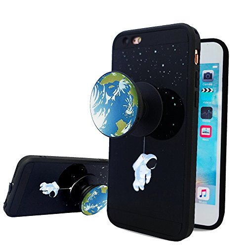 iPhone 6s Case,iPhone 6 Case,Fashion Funny Case with Rotating Pop up Kickstand and Shock Proof Soft TPU Silicone Grips Holder Black Cover Case for Apple iPhone 6/6s Case (4.7 inch) Cartoon Space Earth