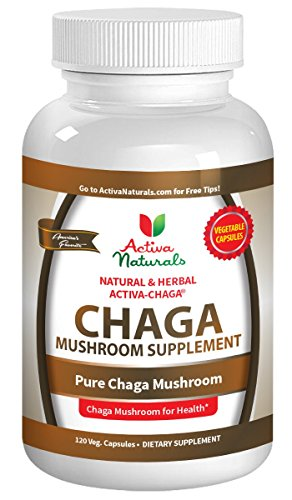 Activa Naturals Chaga Mushroom Supplement - 120 Veg. Capsules with Chagas Mushrooms (Inonotus obliquus) Extract Powder to Help Provide Vitamins and Supplements for Immune Health Support