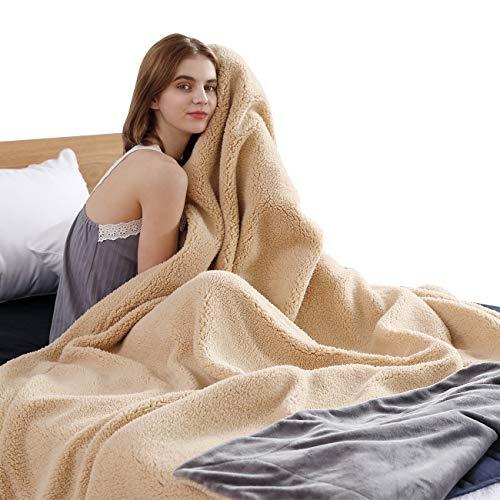 VODOF Luxury Dark Grey Fleece Queen Size Blanket, Soft Double-Sided Blanket, Bed Blanket, Couch Blanket for All Season, Queen Size, 90x90 in (Gray-Pale Yellow, Queen)