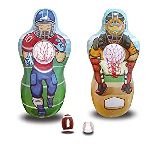 Fun Sports Football Baseball Toss Games for Indoor, Outdoor, Backyard & Party Favor Inflatable Baseball & Football Target Set | Includes 5 Foot Tall Taret ,a Soft Mini Football Baseball and Bat