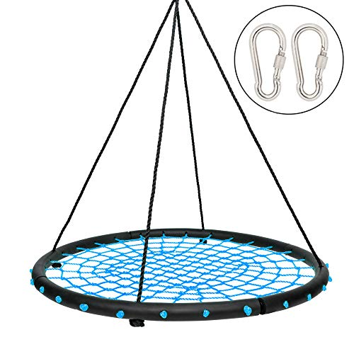 JOYMOR 40 Inch Over 600 lbs Net Spider Web Round Rope Swing with Adjustable 6Ft Hanging Staps,2 Carabiners Great for Swing Set, Backyard, Playground, Playroom (Blue) ()