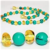 The Art of CureTM Baltic Amber Baby Teething Necklace - Turquoise Gemstone & Honey Amber (Unisex) - Certified Baltic Amber Baby Teething Necklace Highest Quality Guaranteed- Anti Flammatory, Drooling & Teething Pain. Easy to Fastens with a Twist-in Screw Clasp Mothers Approved Remedies!