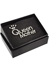 Mothers Day Queen Mother Crowned Rhinestone Word Brooch Pin with Clear Crystals