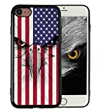iPhone 7 iPhone 8 Case American Flag Eagle Vintage Print Design Slim Fit in Tough Smooth Black TPU for Boys Men Cool Designs Protective - KITATA